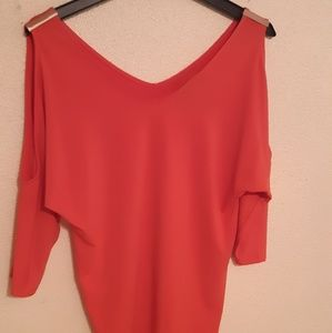 Shoulder cut off/ mid sleeve coral top